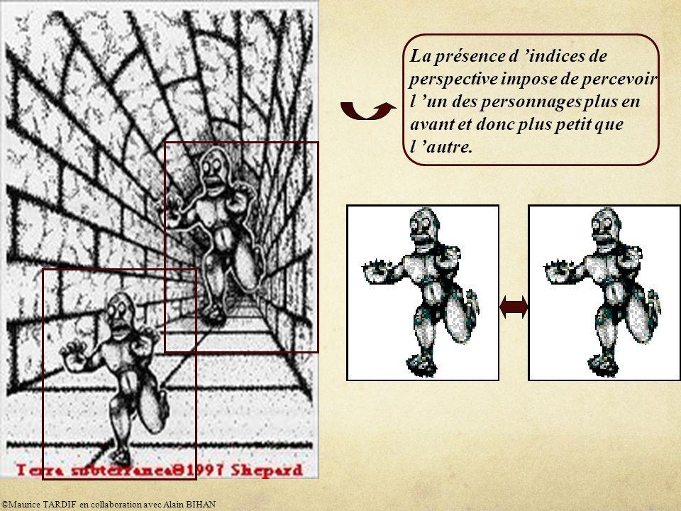 La présence d indices de perspective impose de percevoir l un des personnages plus en avant et donc plus petit que l autre.