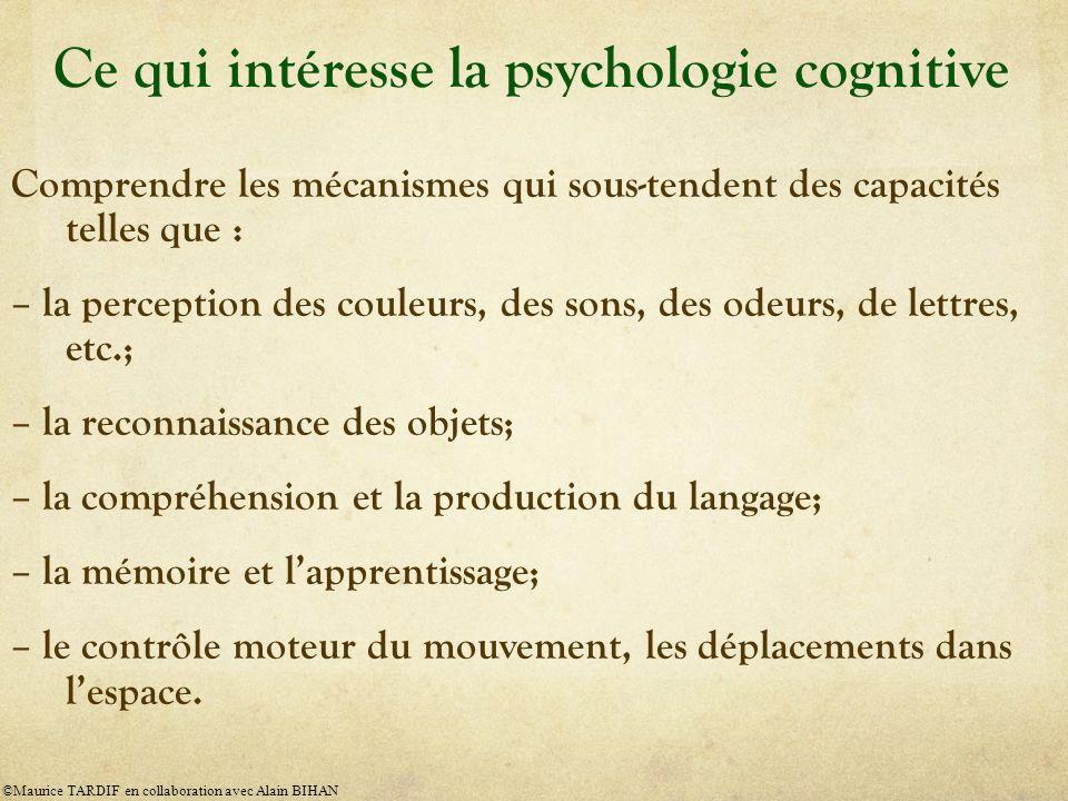 Ce qui intéresse la psychologie cognitive Comprendre les mécanismes qui sous-tendent des capacités telles que : – la perception des couleurs, des sons, des odeurs, de lettres, etc.; – la reconnaissance des objets; – la compréhension et la production du langage; – la mémoire et lapprentissage; – le contrôle moteur du mouvement, les déplacements dans lespace.