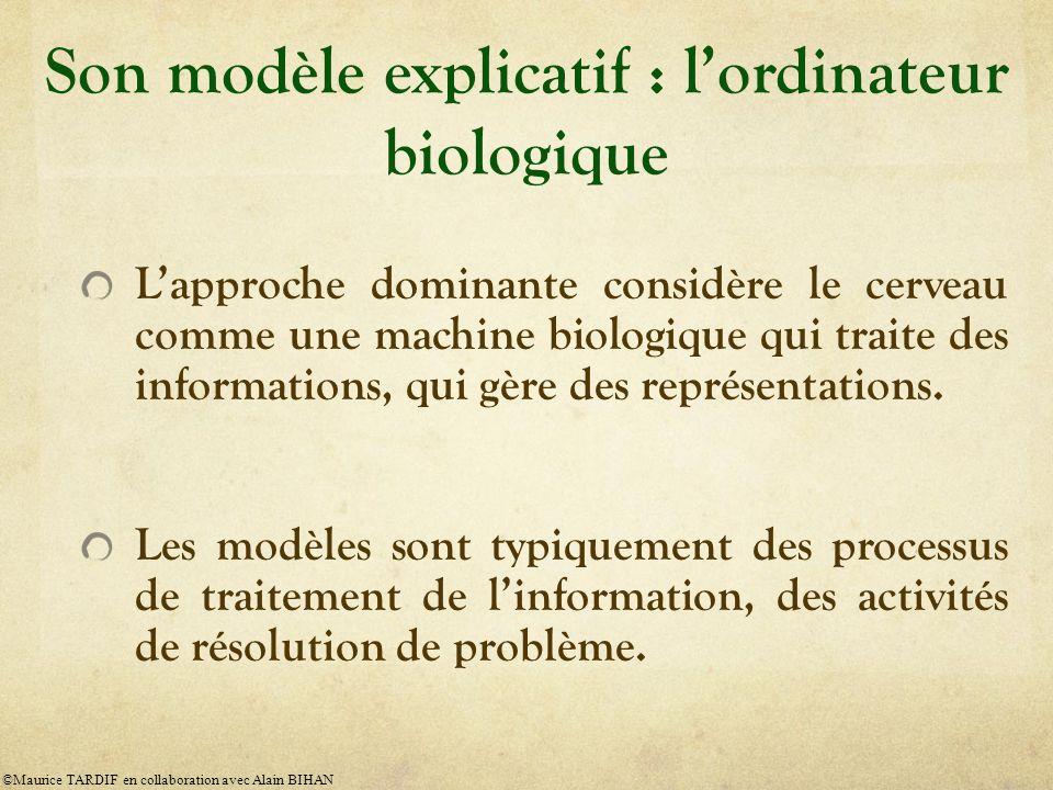 Son modèle explicatif : lordinateur biologique Lapproche dominante considère le cerveau comme une machine biologique qui traite des informations, qui gère des représentations.
