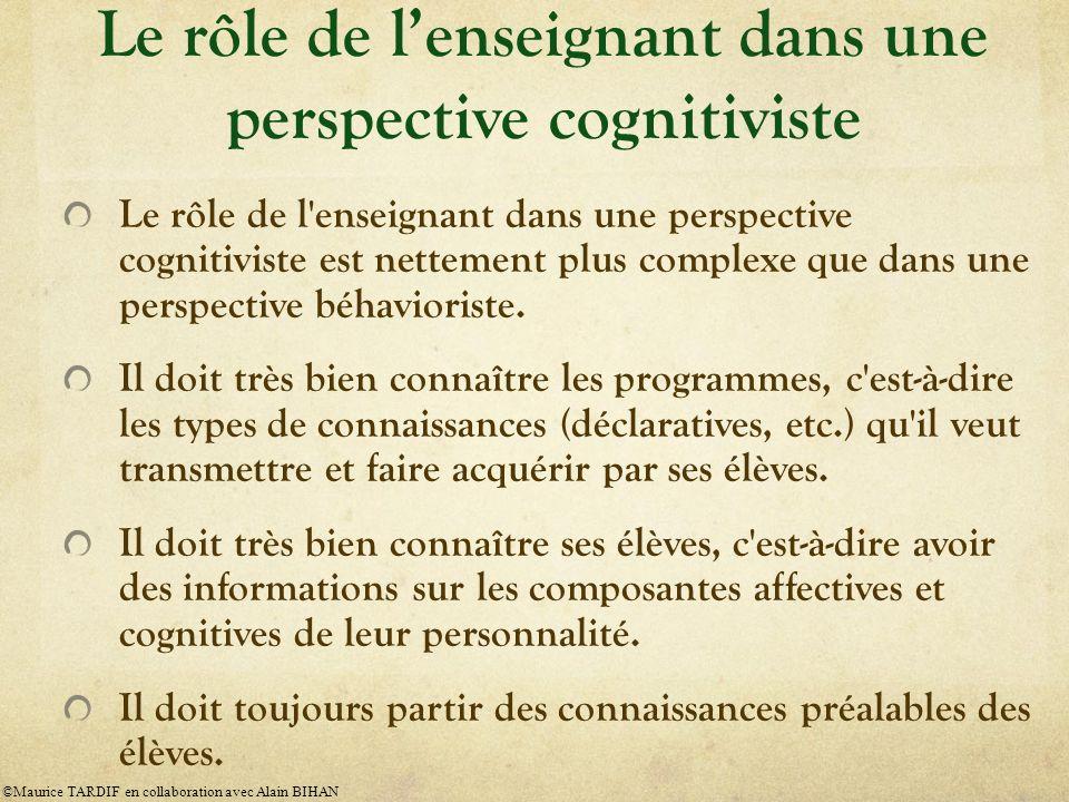 Le rôle de l enseignant dans une perspective cognitiviste est nettement plus complexe que dans une perspective béhavioriste.