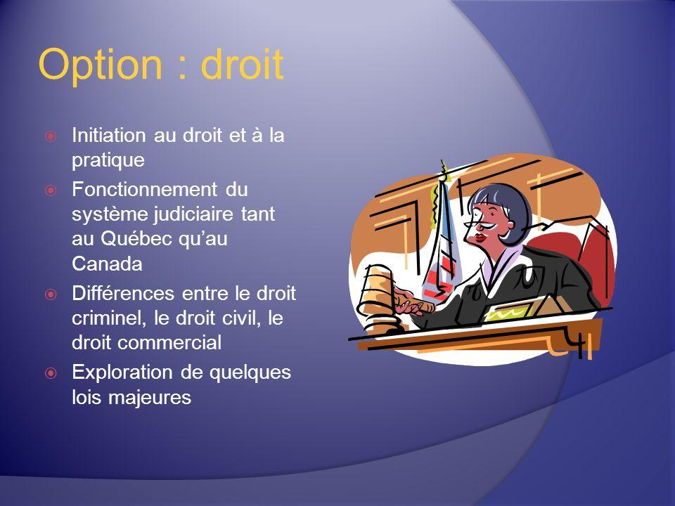Option : droit Initiation au droit et à la pratique Fonctionnement du système judiciaire tant au Québec quau Canada Différences entre le droit criminel, le droit civil, le droit commercial Exploration de quelques lois majeures