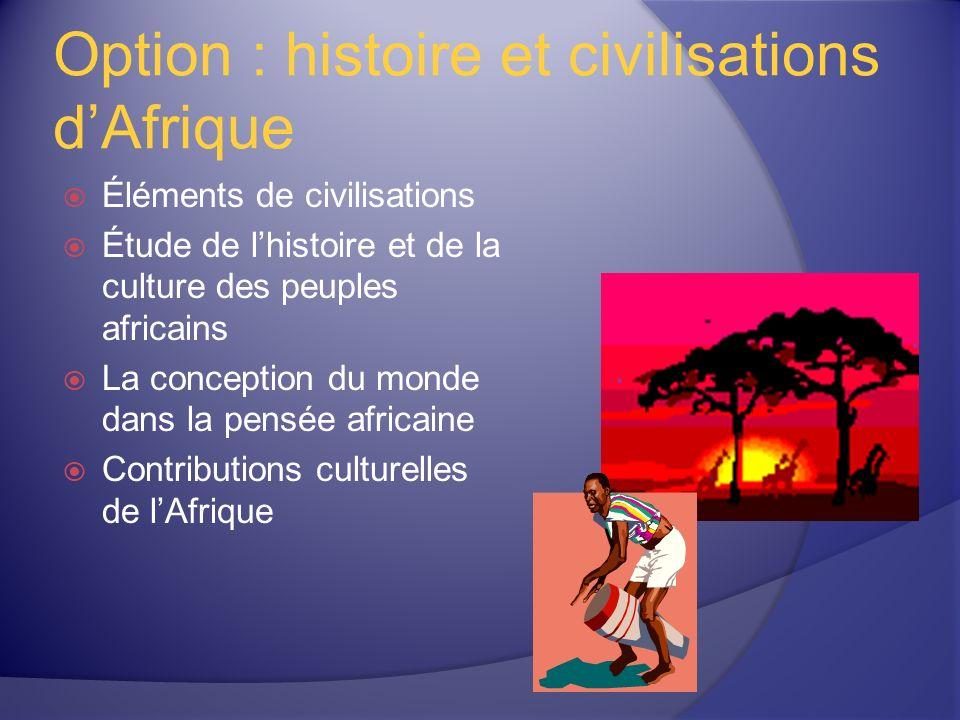 Option : histoire et civilisations dAfrique Éléments de civilisations Étude de lhistoire et de la culture des peuples africains La conception du monde dans la pensée africaine Contributions culturelles de lAfrique