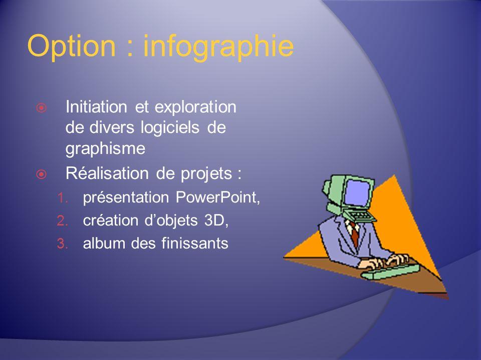 Option : infographie Initiation et exploration de divers logiciels de graphisme Réalisation de projets : 1.