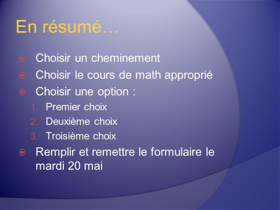 En résumé… Choisir un cheminement Choisir le cours de math approprié Choisir une option : 1.