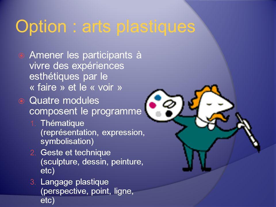 Option : arts plastiques Amener les participants à vivre des expériences esthétiques par le « faire » et le « voir » Quatre modules composent le programme 1.
