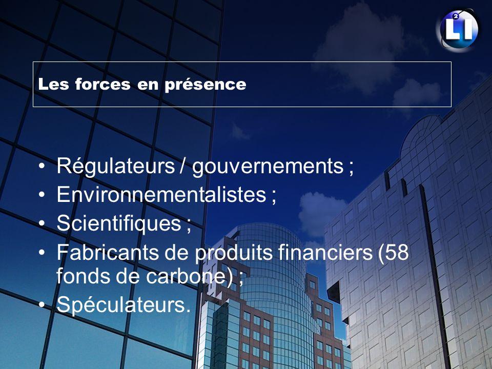 Les forces en présence Régulateurs / gouvernements ; Environnementalistes ; Scientifiques ; Fabricants de produits financiers (58 fonds de carbone) ;