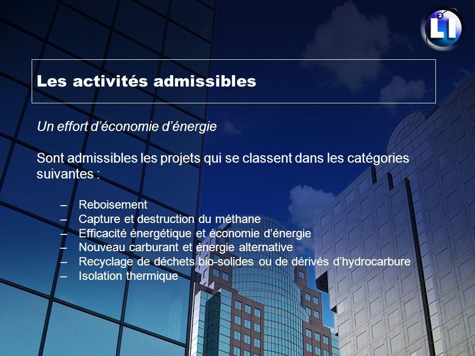 Les activités admissibles Un effort déconomie dénergie Sont admissibles les projets qui se classent dans les catégories suivantes : – Reboisement – Ca