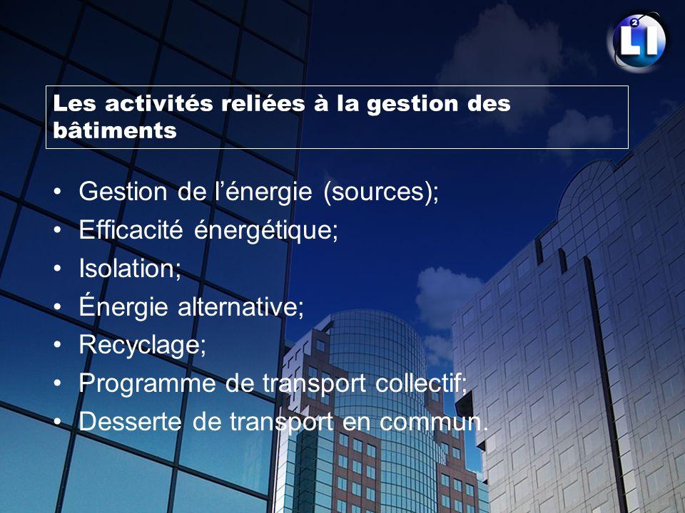 Les activités reliées à la gestion des bâtiments Gestion de lénergie (sources); Efficacité énergétique; Isolation; Énergie alternative; Recyclage; Pro