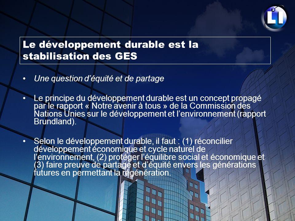 Le développement durable est la stabilisation des GES Une question déquité et de partage Le principe du développement durable est un concept propagé p