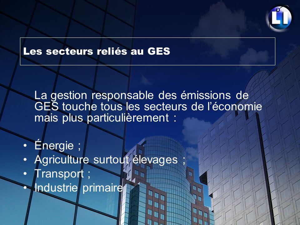 Les secteurs reliés au GES La gestion responsable des émissions de GES touche tous les secteurs de léconomie mais plus particulièrement : Énergie ; Ag