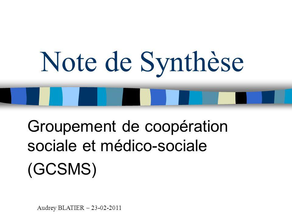 Note de Synthèse Groupement de coopération sociale et médico-sociale (GCSMS) Audrey BLATIER – 23-02-2011