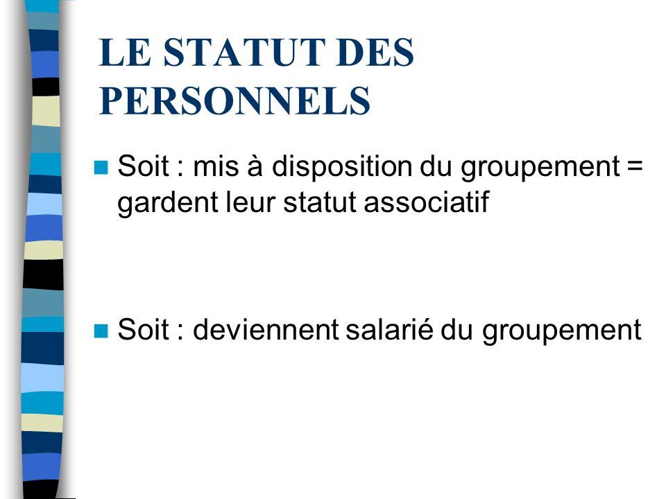 LE STATUT DES PERSONNELS Soit : mis à disposition du groupement = gardent leur statut associatif Soit : deviennent salarié du groupement