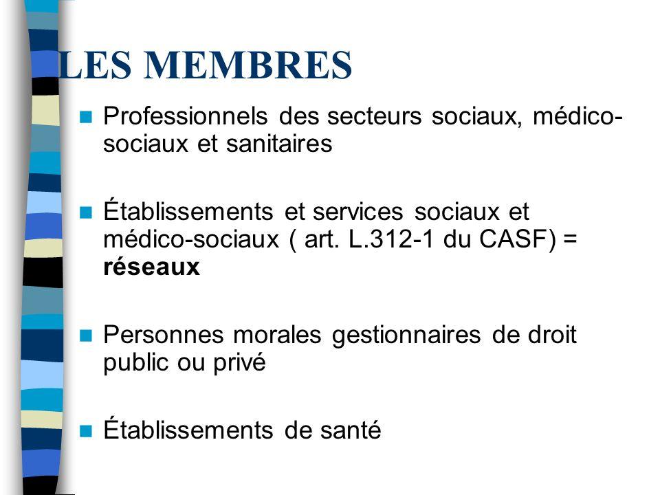 LES MEMBRES Professionnels des secteurs sociaux, médico- sociaux et sanitaires Établissements et services sociaux et médico-sociaux ( art.