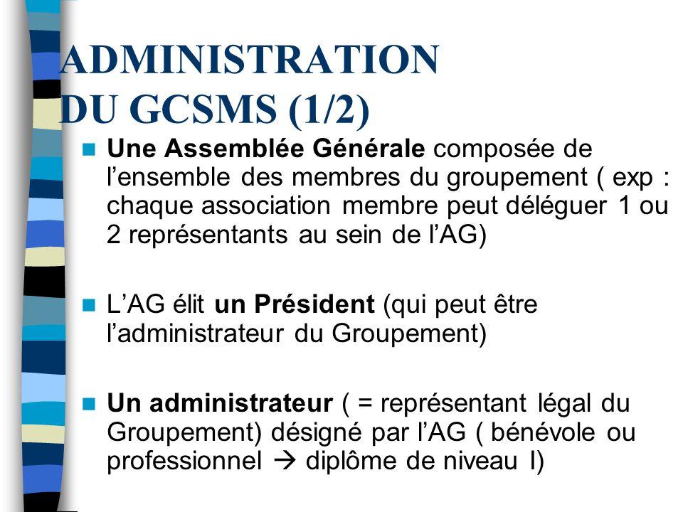 ADMINISTRATION DU GCSMS (1/2) Une Assemblée Générale composée de lensemble des membres du groupement ( exp : chaque association membre peut déléguer 1 ou 2 représentants au sein de lAG) LAG élit un Président (qui peut être ladministrateur du Groupement) Un administrateur ( = représentant légal du Groupement) désigné par lAG ( bénévole ou professionnel diplôme de niveau I)