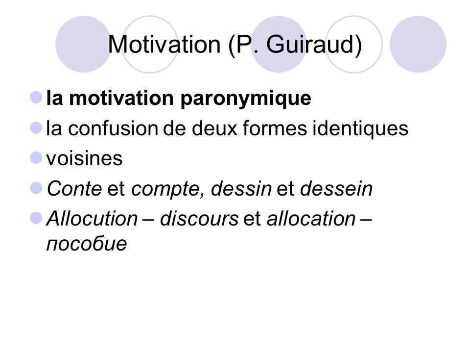Motivation (P. Guiraud) la motivation paronymique la confusion de deux formes identiques voisines Conte et compte, dessin et dessein Allocution – disc