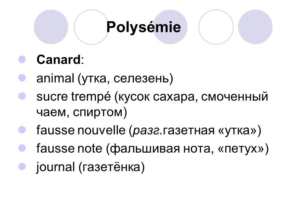Polysémie Canard: animal (утка, селезень) sucre trempé (кусок сахара, смоченный чаем, спиртом) fausse nouvelle (разг.газетная «утка») fausse note (фал
