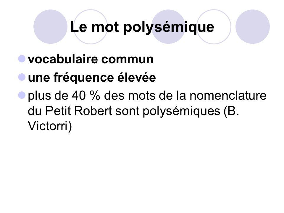 Le mot polysémique vocabulaire commun une fréquence élevée plus de 40 % des mots de la nomenclature du Petit Robert sont polysémiques (B. Victorri)