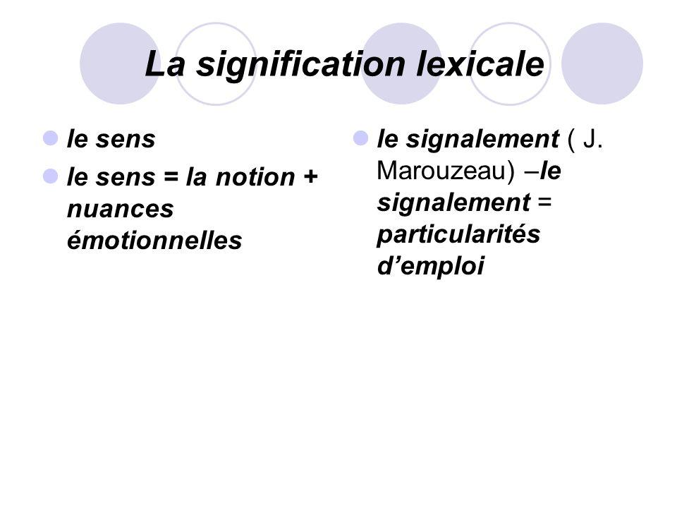 La signification lexicale le sens le sens = la notion + nuances émotionnelles le signalement ( J. Marouzeau) –le signalement = particularités demploi