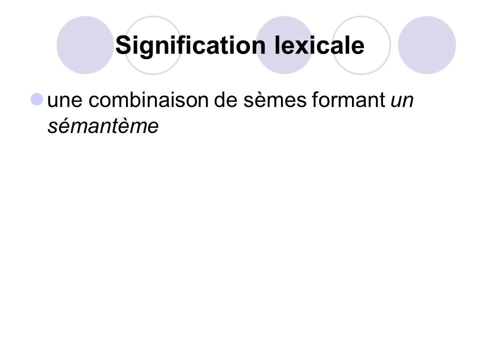 Signification lexicale une combinaison de sèmes formant un sémantème