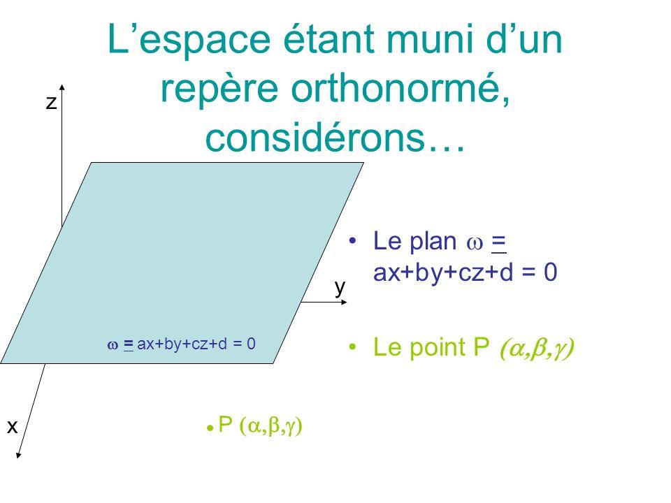 Proposons de calculer, en fonction de a, b, c, d,, et, la distance du point P au plan.