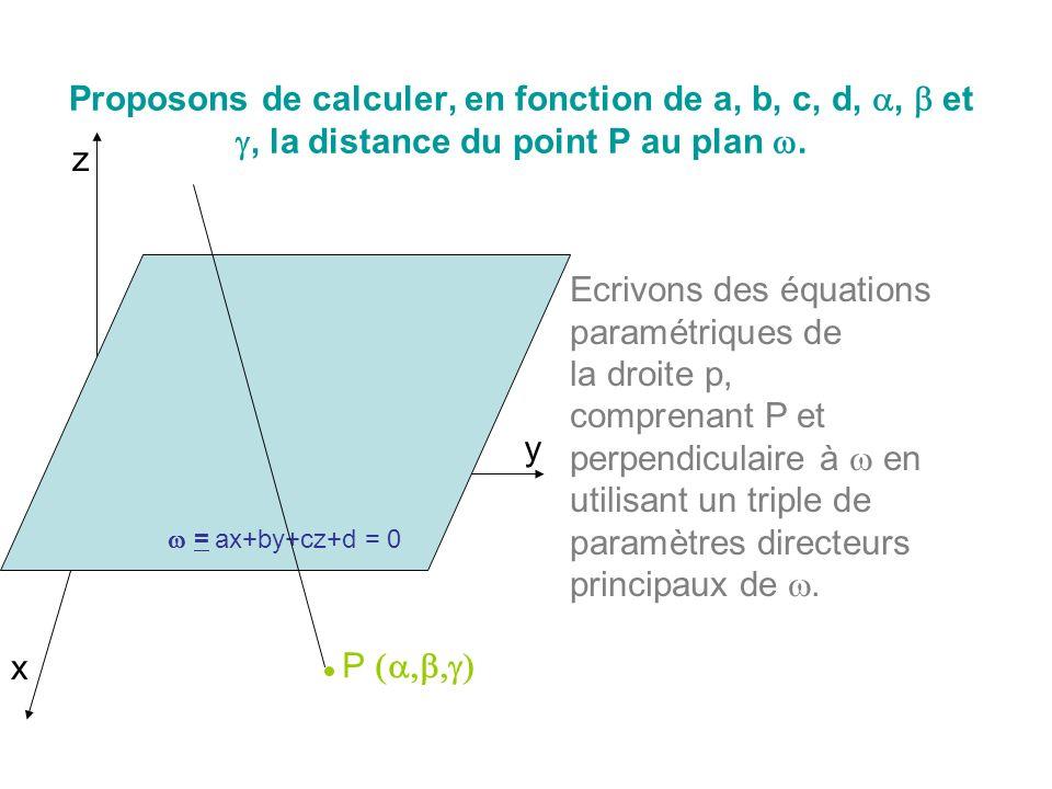 Proposons de calculer, en fonction de a, b, c, d,, et, la distance du point P au plan. x y z = ax+by+cz+d = 0 P Ecrivons des équations paramétriques d