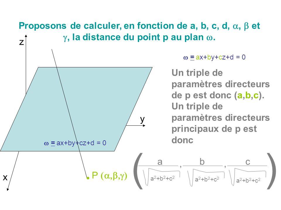 Proposons de calculer, en fonction de a, b, c, d,, et, la distance du point p au plan. x y z = ax+by+cz+d = 0 P Un triple de paramètres directeurs de