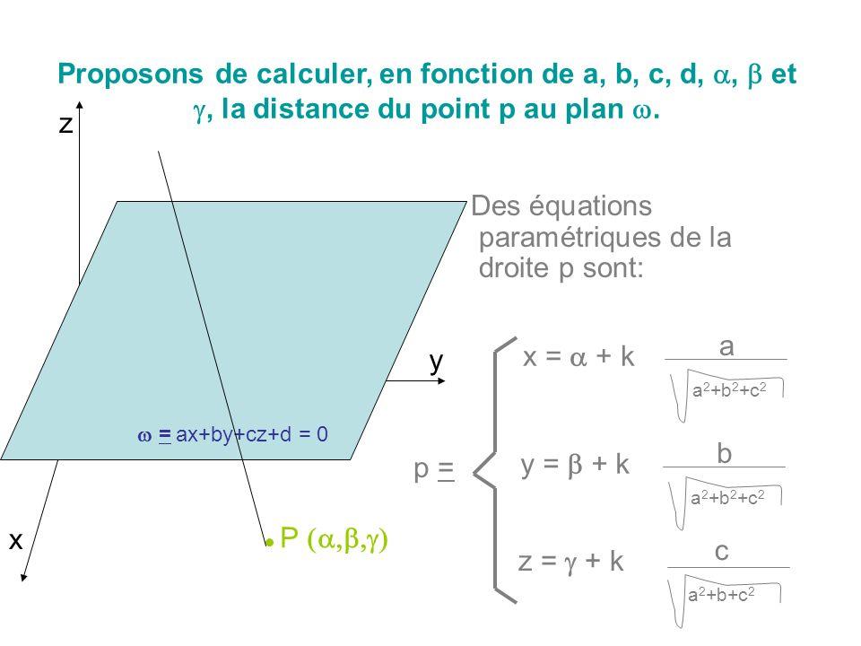 Des équations paramétriques de la droite p sont: Proposons de calculer, en fonction de a, b, c, d,, et, la distance du point p au plan. x y z = ax+by+