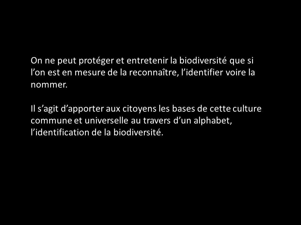 On ne peut protéger et entretenir la biodiversité que si lon est en mesure de la reconnaître, lidentifier voire la nommer. Il sagit dapporter aux cito