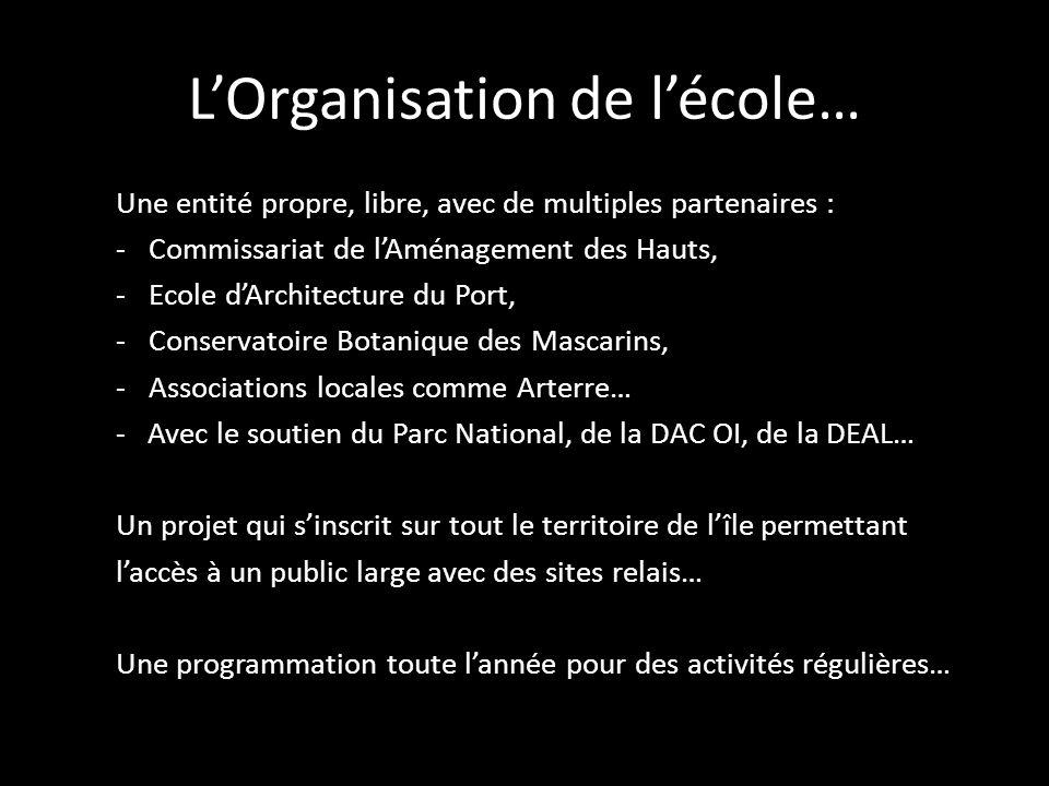 LOrganisation de lécole… Une entité propre, libre, avec de multiples partenaires : -Commissariat de lAménagement des Hauts, -Ecole dArchitecture du Po