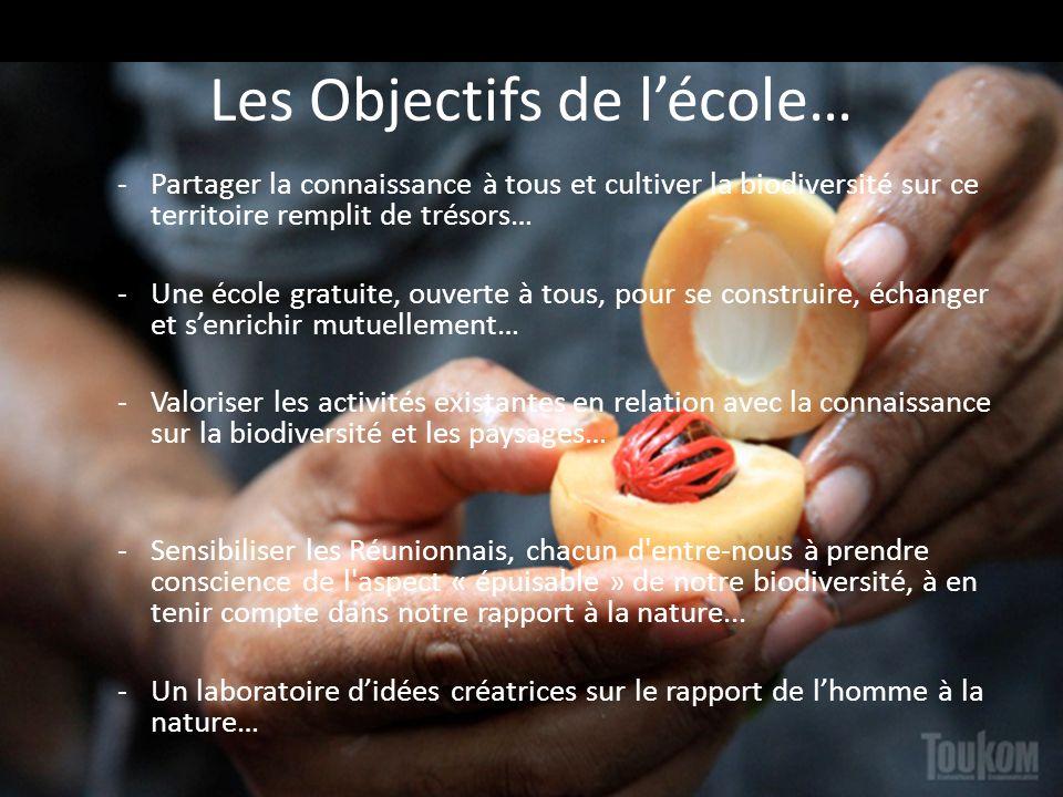 Les Objectifs de lécole… -Partager la connaissance à tous et cultiver la biodiversité sur ce territoire remplit de trésors… -Une école gratuite, ouver