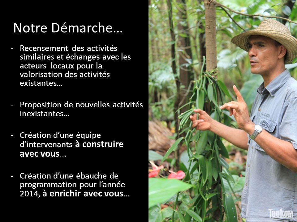 Notre Démarche… -Recensement des activités similaires et échanges avec les acteurs locaux pour la valorisation des activités existantes… -Proposition