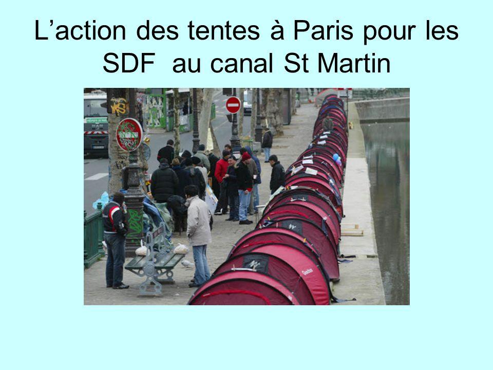Laction des tentes à Paris pour les SDF au canal St Martin