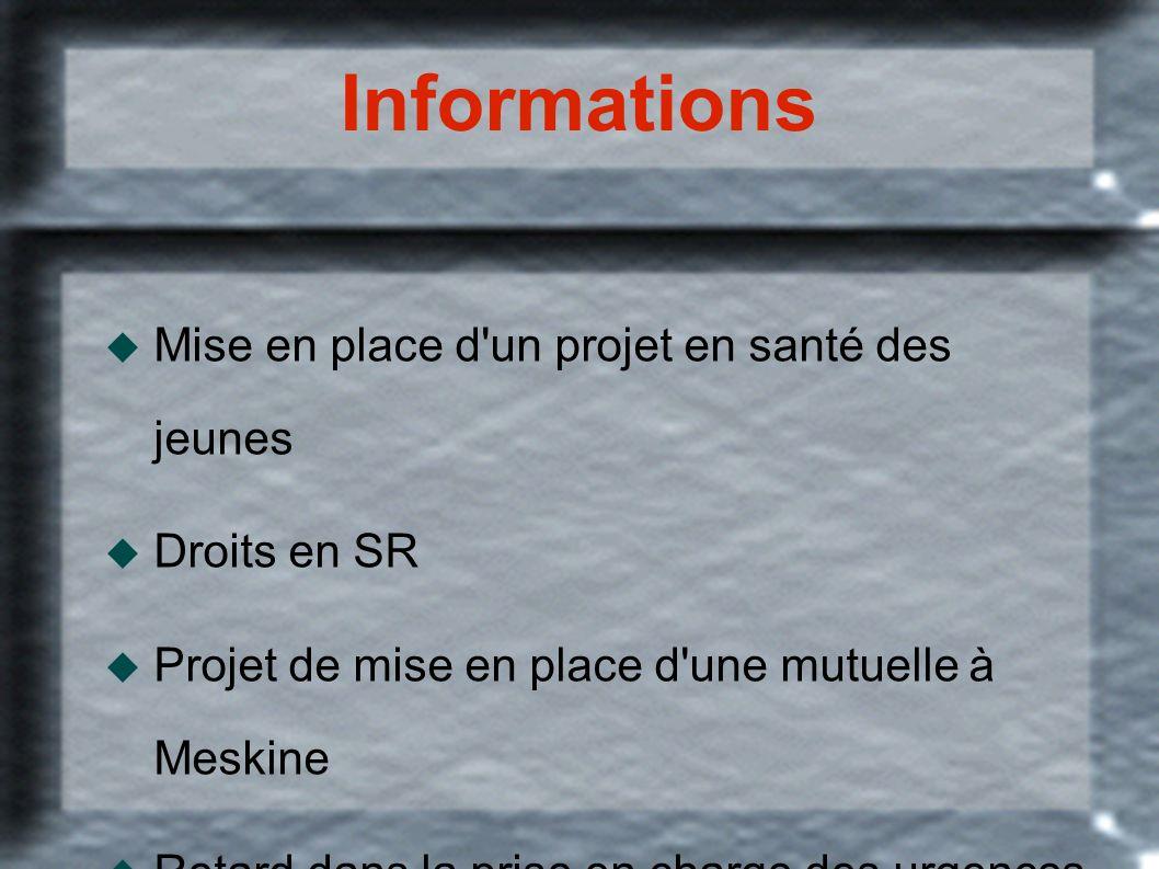Informations Mise en place d'un projet en santé des jeunes Droits en SR Projet de mise en place d'une mutuelle à Meskine Retard dans la prise en charg