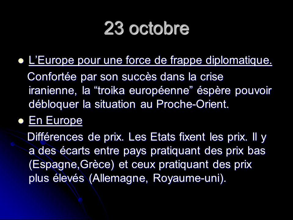 23 octobre LEurope pour une force de frappe diplomatique.