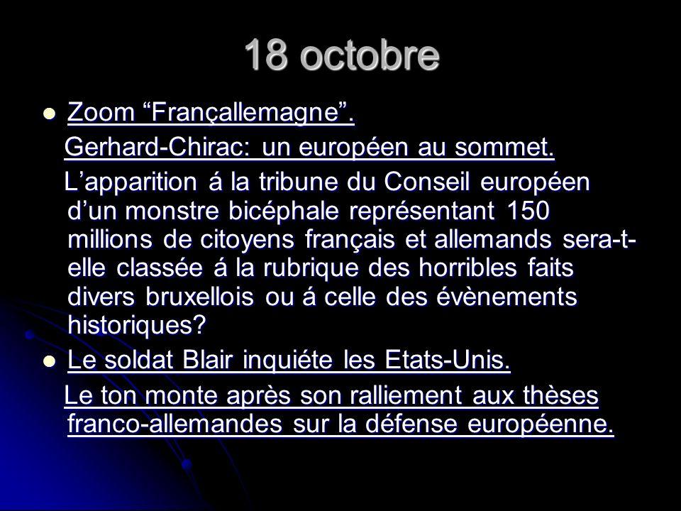 18 octobre Zoom Françallemagne. Zoom Françallemagne.