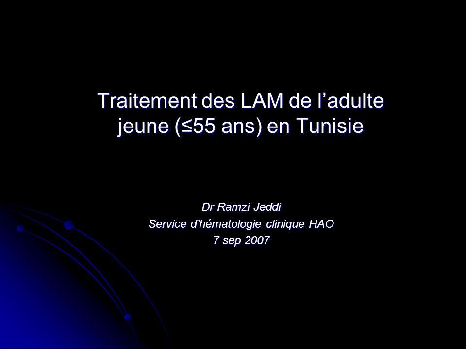 Traitement des LAM de ladulte jeune (55 ans) en Tunisie Dr Ramzi Jeddi Service dhématologie clinique HAO 7 sep 2007