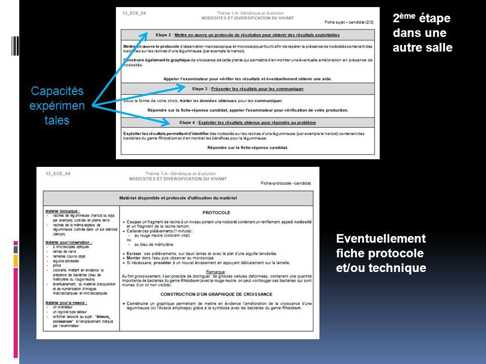 Capacités expérimen tales Eventuellement fiche protocole et/ou technique 2 ème étape dans une autre salle