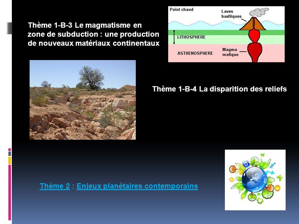 Thème 1-B-3 Le magmatisme en zone de subduction : une production de nouveaux matériaux continentaux Thème 1-B-4 La disparition des reliefs Thème 2 : E