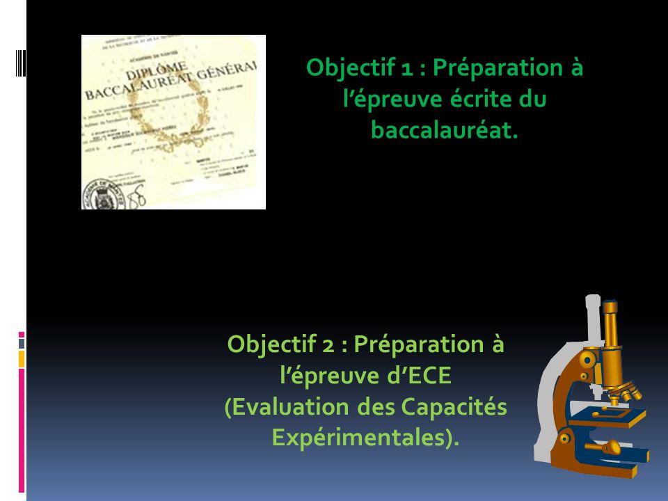 Objectif 1 : Préparation à lépreuve écrite du baccalauréat. Objectif 2 : Préparation à lépreuve dECE (Evaluation des Capacités Expérimentales).