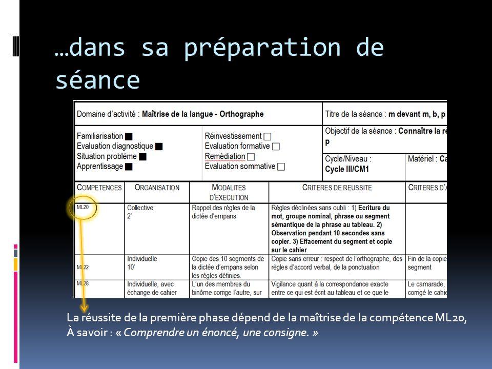 …dans sa préparation de séance La réussite de la première phase dépend de la maîtrise de la compétence ML20, À savoir : « Comprendre un énoncé, une co