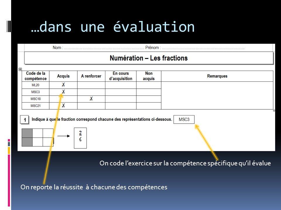 …dans une évaluation On reporte la réussite à chacune des compétences On code lexercice sur la compétence spécifique quil évalue