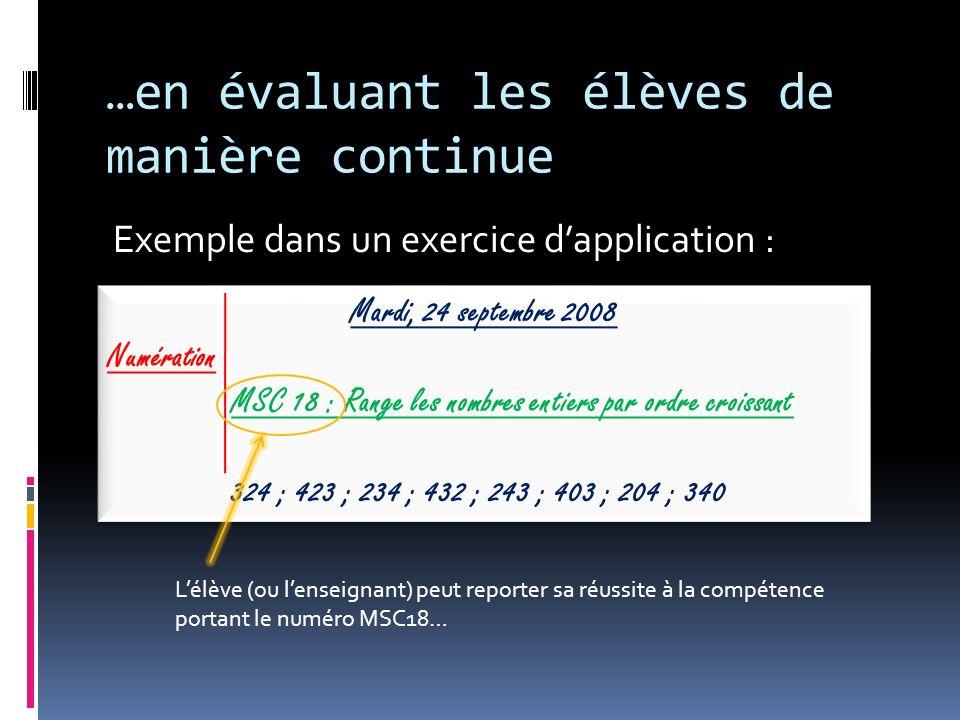 …en évaluant les élèves de manière continue Exemple dans un exercice dapplication : Mardi, 24 septembre 2008 Numération MSC 18 : Range les nombres ent