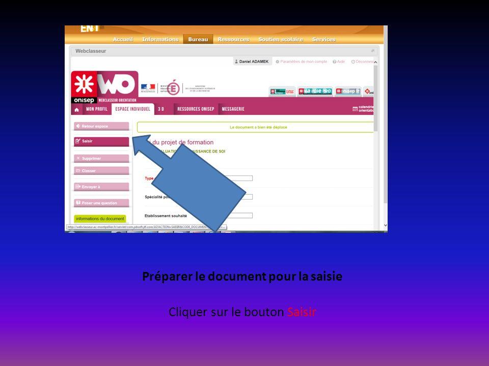Préparer le document pour la saisie Cliquer sur le bouton Saisir