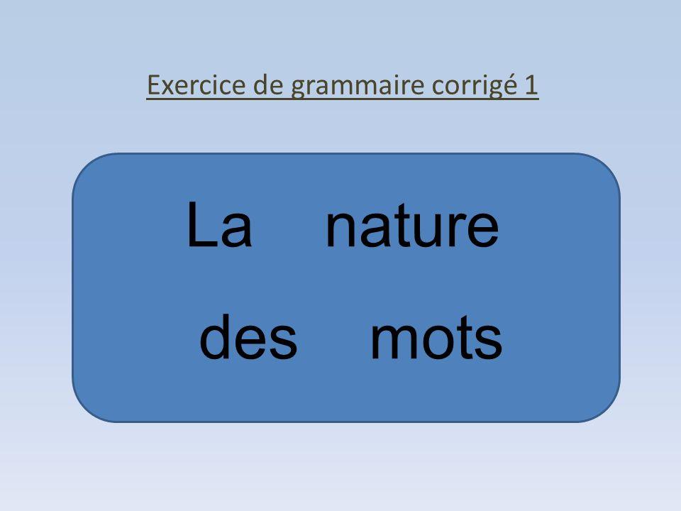 La nature des mots Exercice de grammaire corrigé 1