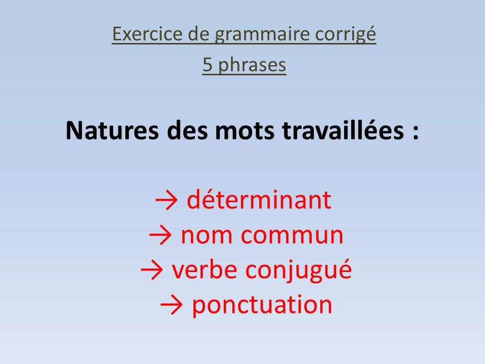 Exercice de grammaire corrigé 5 phrases Natures des mots travaillées : déterminant nom commun verbe conjugué ponctuation