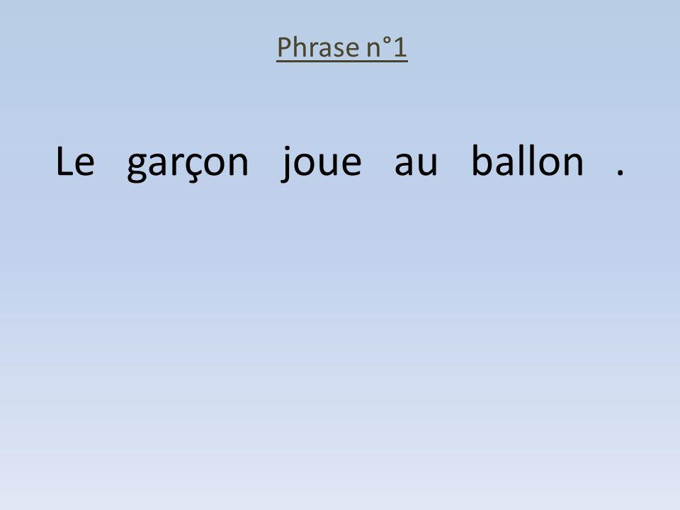 Phrase n°1 Le garçon joue au ballon.