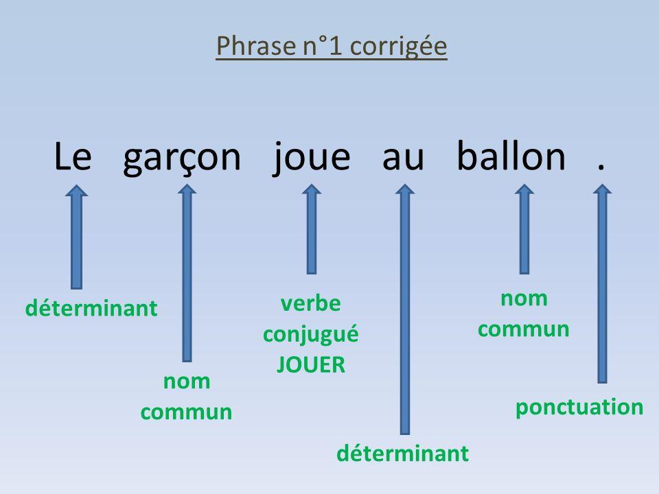 Phrase n°1 corrigée Le garçon joue au ballon. déterminant nom commun verbe conjugué JOUER déterminant nom commun ponctuation