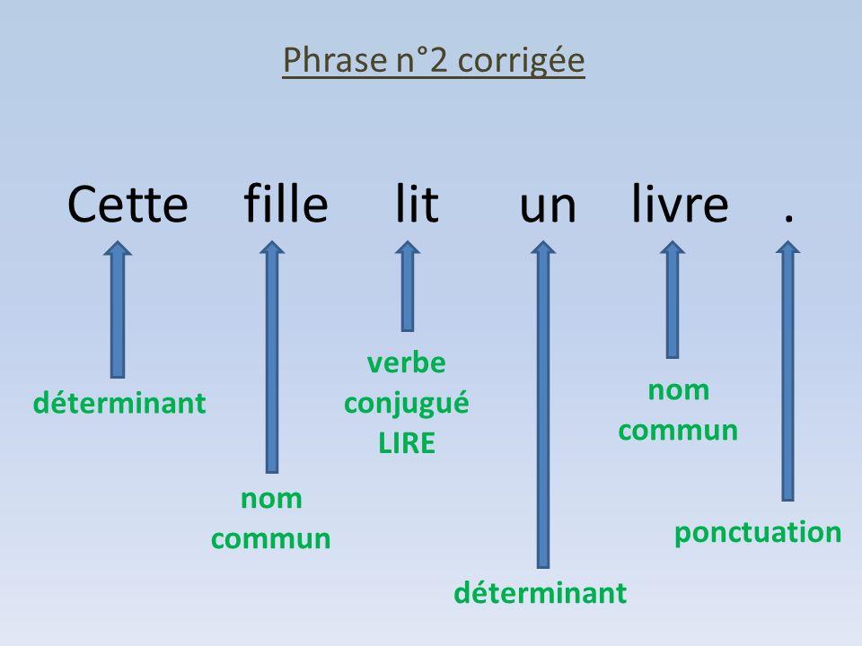 Phrase n°2 corrigée Cette fille lit un livre. déterminant nom commun verbe conjugué LIRE déterminant nom commun ponctuation