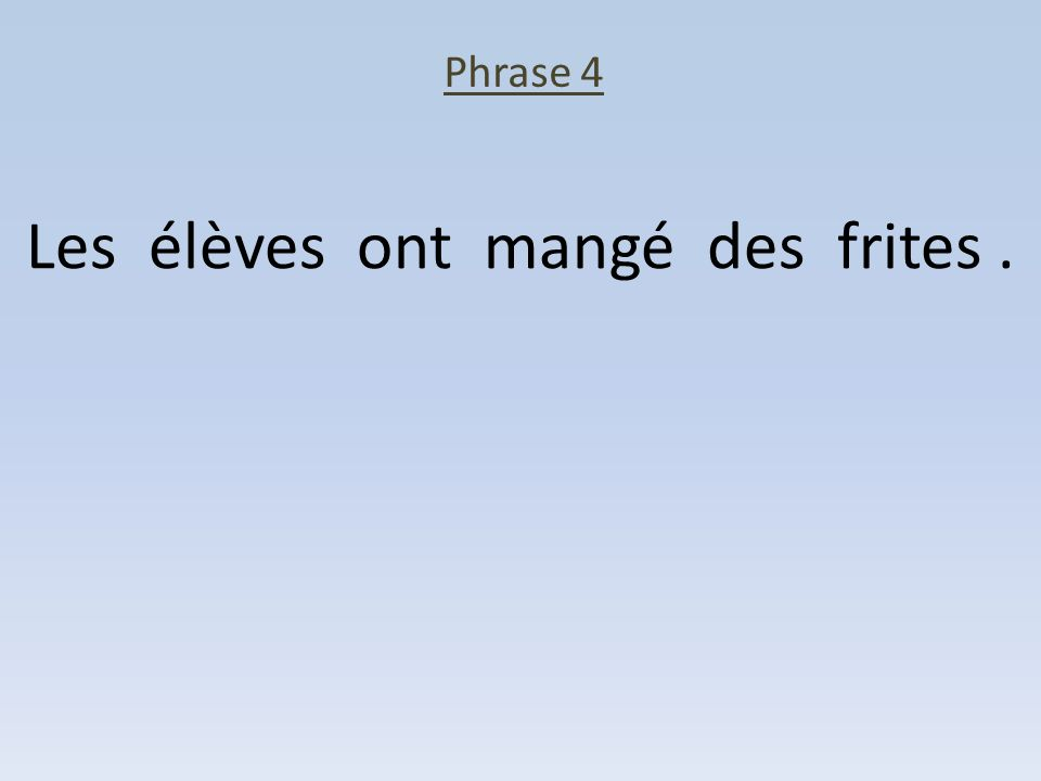 Phrase 4 Les élèves ont mangé des frites.