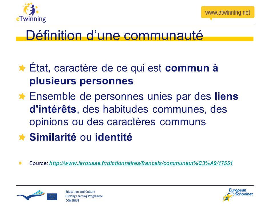 Définition dune communauté État, caractère de ce qui est commun à plusieurs personnes Ensemble de personnes unies par des liens d intérêts, des habitudes communes, des opinions ou des caractères communs Similarité ou identité Source: http://www.larousse.fr/dictionnaires/francais/communaut%C3%A9/17551http://www.larousse.fr/dictionnaires/francais/communaut%C3%A9/17551